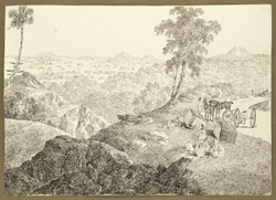 Carriages being repaired on the road through the Kathkamsandi Pass (Bihar). 15 February 1823